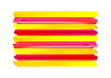 Trazos de pincel colorido estelada rojo de Cataluña pintaron el icono de la bandera nacional. Textura pintada. Ilustración de vector