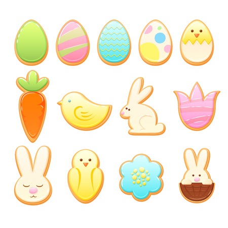 Easter cookies vector set. Stock Illustratie
