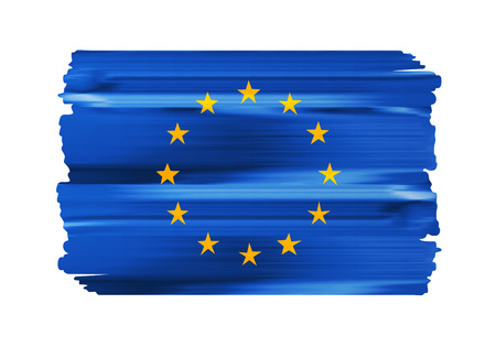 European Union colorful brush strokes painted flag.