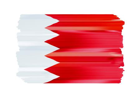 Les coups de pinceau colorés de Bahreïn ont peint l'icône du drapeau national du pays. Texture peinte.