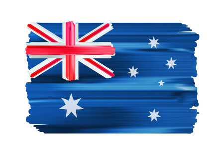 Australia colorful brush strokes painted flag.