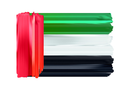 United Arab Emirates colorful brush strokes painted national country flag icon. Painted texture. Ilustrace