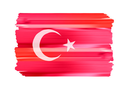 Turkey colorful brush strokes painted national country Turkish flag icon. Painted texture. 일러스트