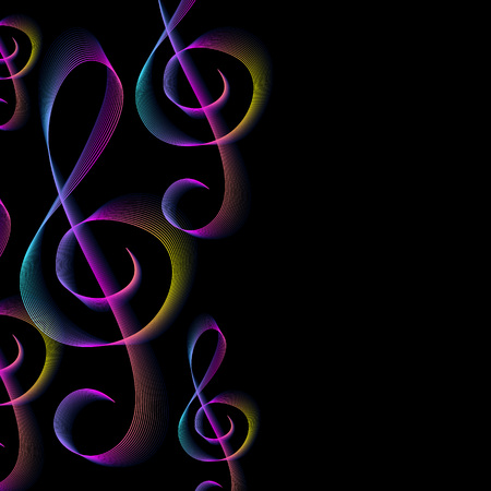 Colorful treble clefs background. Music concert dewsign template.