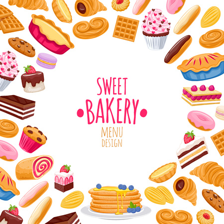 Sweet pastry background. Vector bakery products. Stock Illustratie