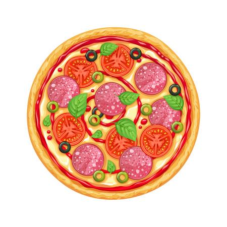 Pizza de vector con pepperony, mozarella y tomate.