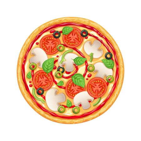 Vektorpizza mit Peperoni, Mozarella und Tomate. Vektorgrafik