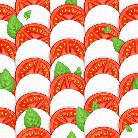Caprese salad vector seamless background - mozzarella, tomato and basil leaves. Italian food illustration.