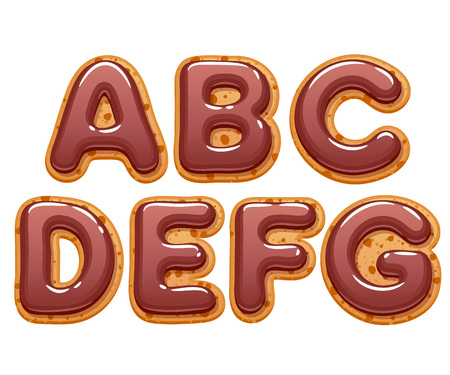 Cookies with chocolate icing abc letters set - sweet biscuits alphabet design. Illustration