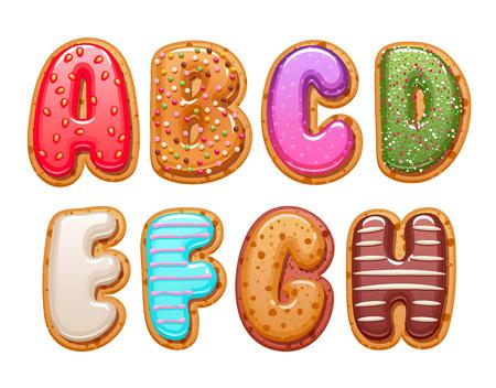 Cookies with colorful icing abc letters set - sweet biscuits alphabet design. Vektoros illusztráció