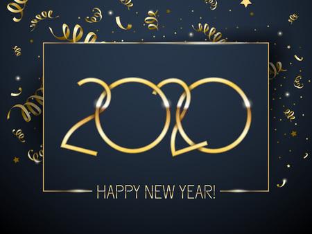 Fondo de feliz año nuevo 2020 con número de oro y serpentina. Diseño de vacaciones de invierno de Navidad. Tarjeta de felicitación de temporada, calendario, plantilla de folleto.