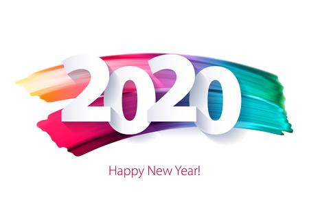 Fondo de feliz año nuevo 2020 con números coloridos. Diseño de vacaciones de invierno de Navidad. Tarjeta de felicitación de temporada, calendario, plantilla de folleto. Ilustración de vector