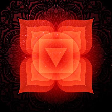 Muladhara chakra colorful symbol icon. Root chakra. Illustration