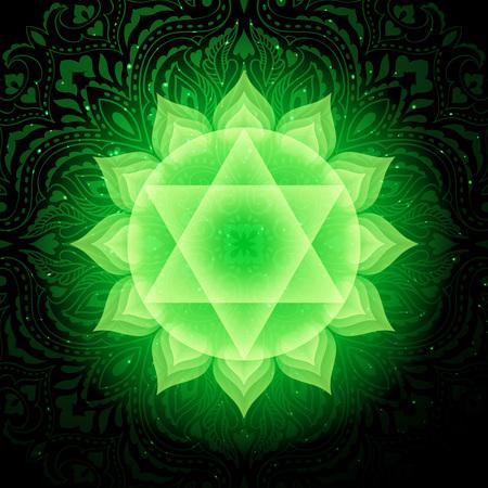 Anahata chakra simbolo colorato icona. Chakra del cuore.