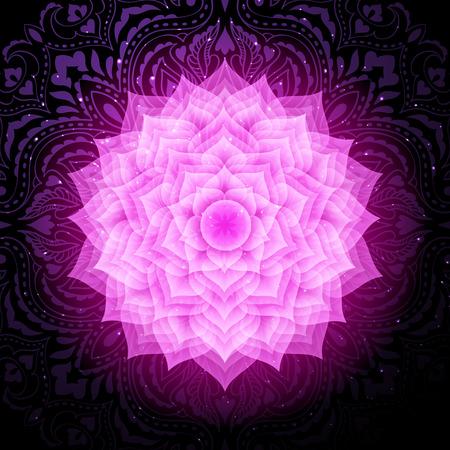 Sahasrara chakra colorful symbol icon. Crown chakra. Illustration