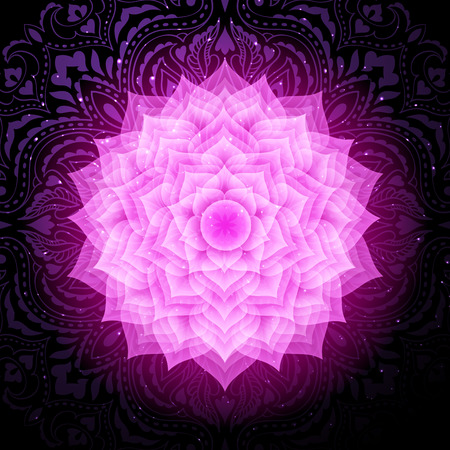 Sahasrara chakra colorful symbol icon. Crown chakra. Illustration