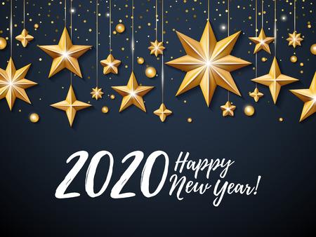 2020 Happy New Year background. Seasonal greeting card template. Иллюстрация