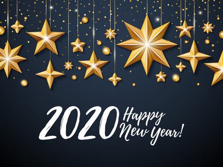2020 Happy New Year background. Seasonal greeting card template. Illustration