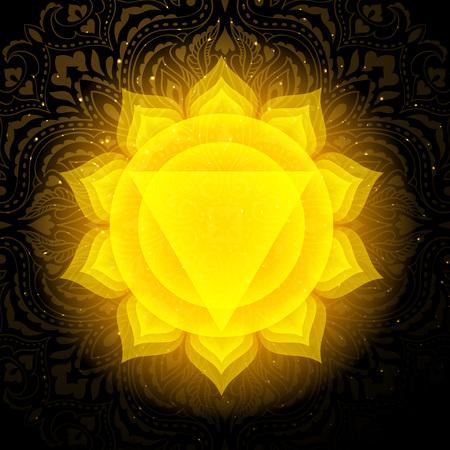Manipura chakra colorful symbol icon. Solar Plexus Chakra. 일러스트