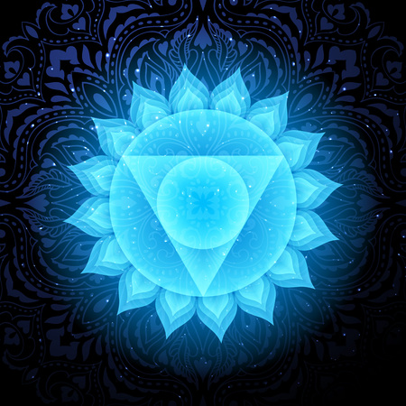 Vishuddha chakra colorful symbol icon. Throat Chakra.