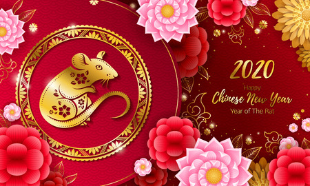 2020 Happy Chinese new year background with Rat. Banco de Imagens - 122477947