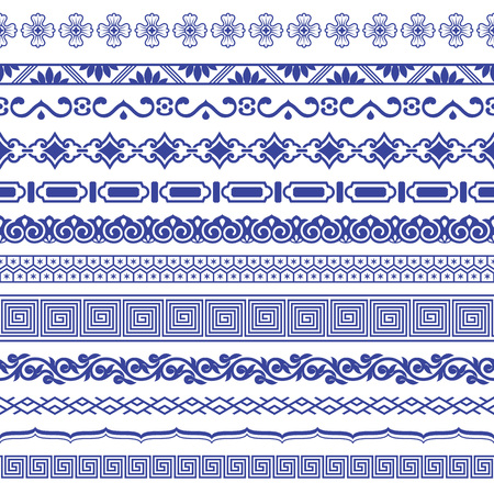 Chiński porcelane bezszwowe granic wektor zestaw.