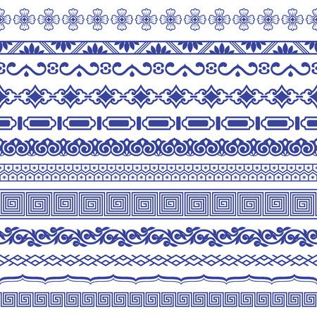 Chinese porseleinen naadloze randen vector set.