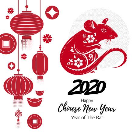 Fondo de feliz año nuevo chino 2020 con rata. Ilustración de vector