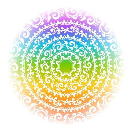 Rainbow mandala vector illustration.