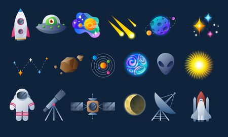 Colorful space icons set.