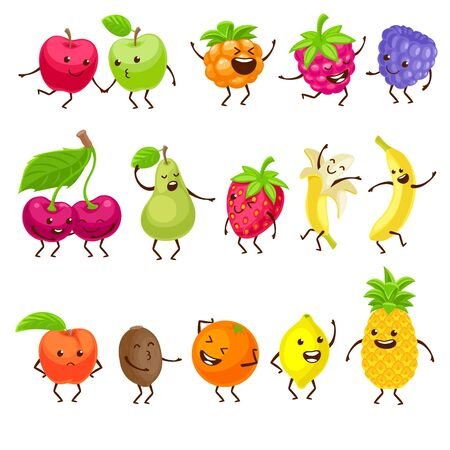 Funny fruits with faces set.
