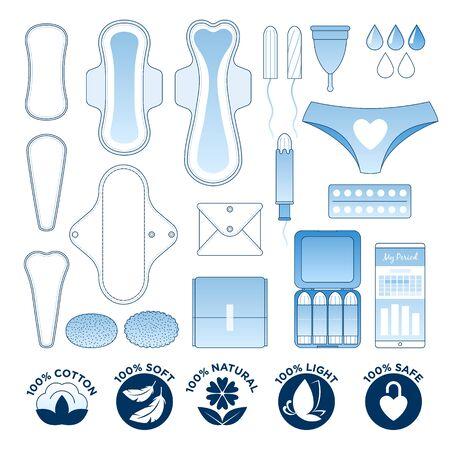 Feminine hygiene - sanitary napkins, pantyliners and tampons icon set. 向量圖像