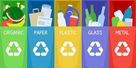 Müllsortierung und Recycling-Hintergrund mit Farbmülleimern.
