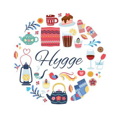 Hygge style illustration. Round background.