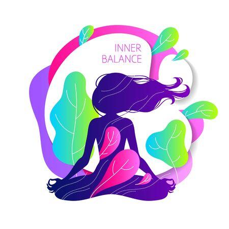 Meditierende Frau im Lotussitz. Bunte Yoga-Illustration.