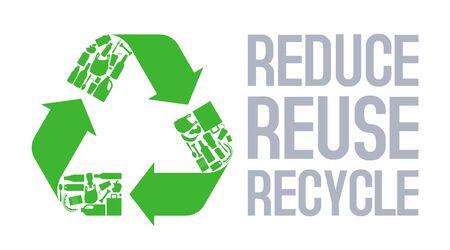 Recycle sign with Reduce reuse recycle slogan vector. Illusztráció