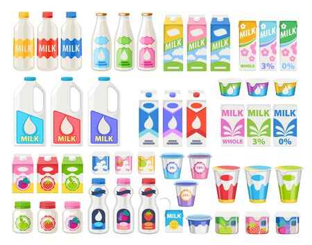 Milk products icons set. Illustration