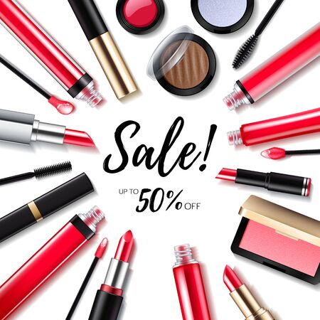 Make-up cosmetics sale background with lips and eyes products. Ilustração