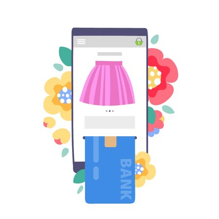 Paying online in internet shop concept. Mobile phone or tablet with bank card. Flowers background.