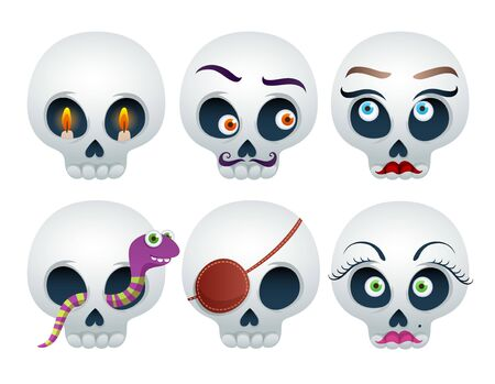 Funny skulls set Halloween vector illustration. Good for Halloween or Dia de los Muertos design. 일러스트