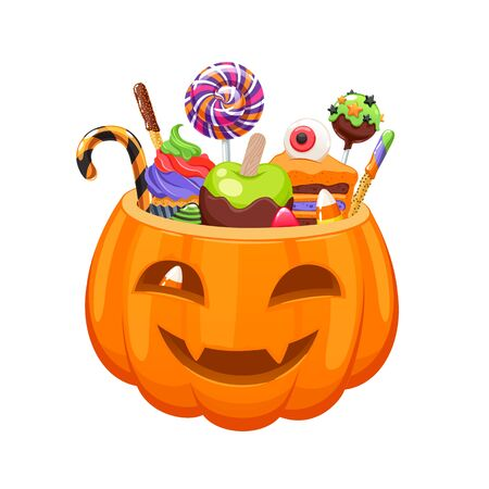 Pumpkin bucket with Halloween sweets and candies.