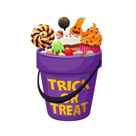 Bucket with Halloween sweets and candies. Ilustração