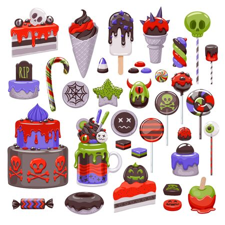 Halloween sweet set. Assorted candies, cookies and cakes. Çizim