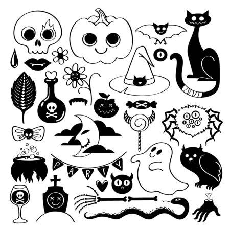 Halloween icons set - doodle style.