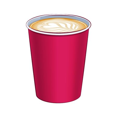 Paper coffee cup top view vector illustration. Hot drink icon. Ilustração