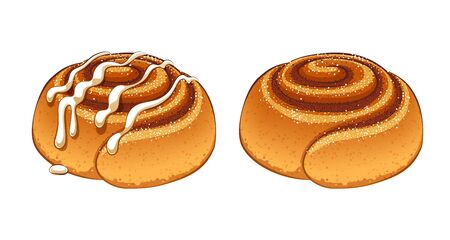 Cinnamon rolls set in cartoon style vector illustration.