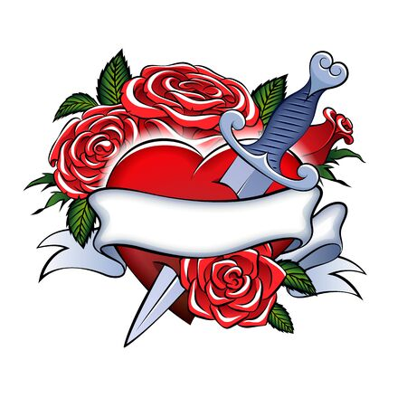 Heart, dagger and roses vector tattoo. Retro vintage style.