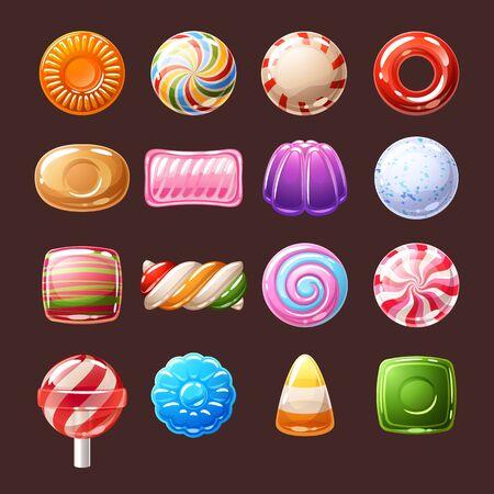 Ilustración colorida de los iconos de los dulces de los caramelos.