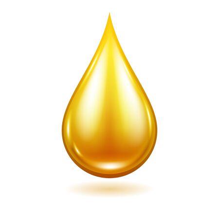 Illustrazione di goccia di olio. Gocciolina di liquido giallo.