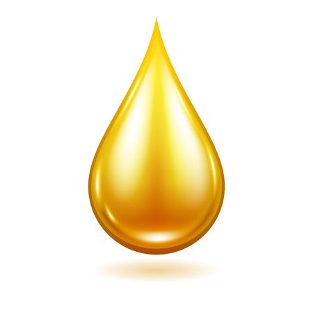 Oil drop illustration. Yellow liquid droplet.
